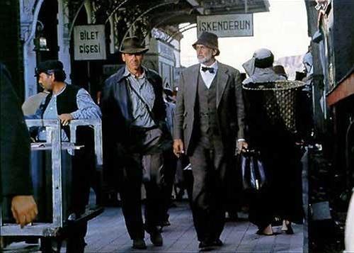 Harrison Ford y Sean Connery en la estación de Guadix